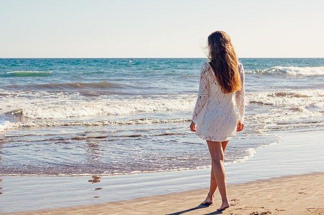 moře, pláž, žena, šaty