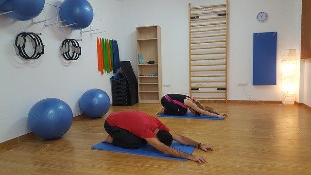 muž, žena, tělocvična, joga