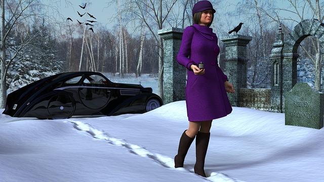 žena na sněhu